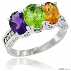 14K White Gold Natural Amethyst, Peridot & Whisky Quartz Ring 3-Stone 7x5 mm Oval Diamond Accent