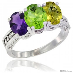 14K White Gold Natural Amethyst, Peridot & Lemon Quartz Ring 3-Stone 7x5 mm Oval Diamond Accent