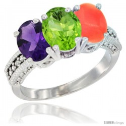 14K White Gold Natural Amethyst, Peridot & Coral Ring 3-Stone 7x5 mm Oval Diamond Accent