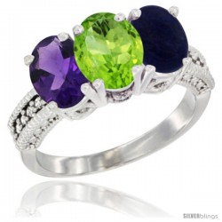 14K White Gold Natural Amethyst, Peridot & Lapis Ring 3-Stone 7x5 mm Oval Diamond Accent