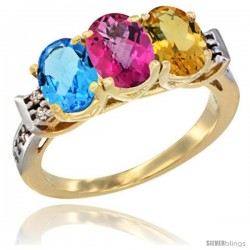 10K Yellow Gold Natural Swiss Blue Topaz, Pink Topaz & Citrine Ring 3-Stone Oval 7x5 mm Diamond Accent