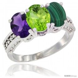 14K White Gold Natural Amethyst, Peridot & Malachite Ring 3-Stone 7x5 mm Oval Diamond Accent