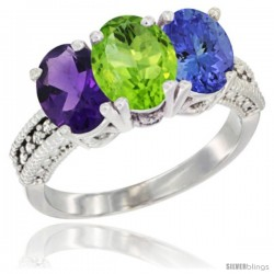 14K White Gold Natural Amethyst, Peridot & Tanzanite Ring 3-Stone 7x5 mm Oval Diamond Accent