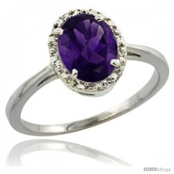 14k White Gold Diamond Halo Amethyst Ring 1.2 ct Oval Stone 8x6 mm, 1/2 in wide