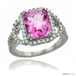 14k White Gold Natural Pink Topaz Ring 10x8 mm Emerald Shape Diamond Halo, 1/2inch wide
