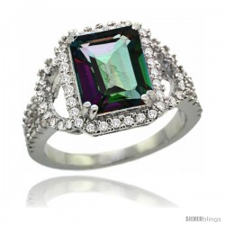 14k White Gold Natural Mystic Topaz Ring 3.10 Carats Emerald Cut Stone0.41 cttw Diamonds, 1/2inch wide