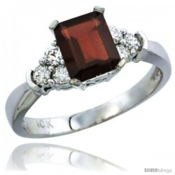 14k White Gold Ladies Natural Garnet Ring Emerald-shape 7x5 Stone Diamond Accent