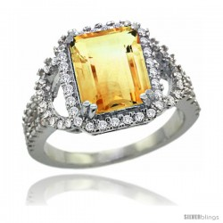 14k White Gold Natural Citrine Ring 10x8 mm Emerald Shape Diamond Halo, 1/2inch wide