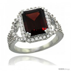 14k White Gold Natural Garnet Ring 10x8 mm Emerald Shape Diamond Halo, 1/2inch wide