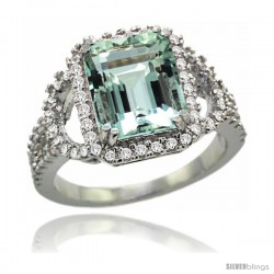 14k White Gold Natural Aquamarine Ring 10x8 mm Emerald Shape Diamond Halo, 1/2inch wide