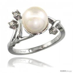 14k White Gold Diamond Vine Pearl Ring w/ 0.085 Carat Brilliant Cut ( H-I Color VS2-SI1 Clarity ) Diamonds & 9mm White Pearl