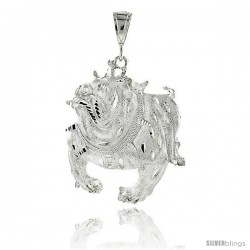"Sterling Silver Bulldog Pendant, 2 15/16"" (75 mm) tall"