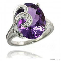 14k White Gold Natural Amethyst Ring 16x12 mm Oval Shape Diamond Accent, 5/8 in wide