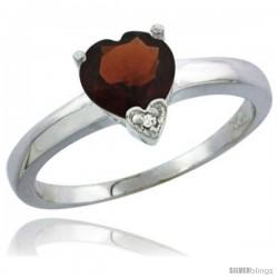 14K White Gold Natural Garnet Heart-shape 7x7 Stone Diamond Accent