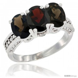 10K White Gold Natural Garnet & Smoky Topaz Sides Ring 3-Stone Oval 7x5 mm Diamond Accent