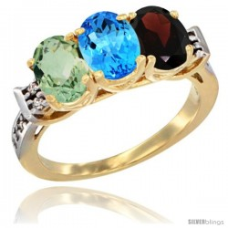 10K Yellow Gold Natural Green Amethyst, Swiss Blue Topaz & Garnet Ring 3-Stone Oval 7x5 mm Diamond Accent