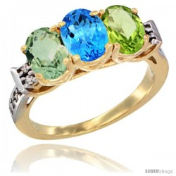 10K Yellow Gold Natural Green Amethyst, Swiss Blue Topaz & Peridot Ring 3-Stone Oval 7x5 mm Diamond Accent
