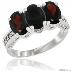 14K White Gold Natural Black Onyx & Garnet Sides Ring 3-Stone 7x5 mm Oval Diamond Accent