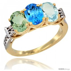 10K Yellow Gold Natural Green Amethyst, Swiss Blue Topaz & Aquamarine Ring 3-Stone Oval 7x5 mm Diamond Accent