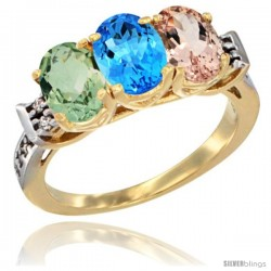10K Yellow Gold Natural Green Amethyst, Swiss Blue Topaz & Morganite Ring 3-Stone Oval 7x5 mm Diamond Accent