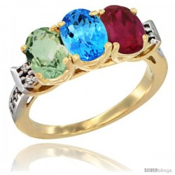 10K Yellow Gold Natural Green Amethyst, Swiss Blue Topaz & Ruby Ring 3-Stone Oval 7x5 mm Diamond Accent
