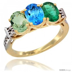 10K Yellow Gold Natural Green Amethyst, Swiss Blue Topaz & Emerald Ring 3-Stone Oval 7x5 mm Diamond Accent