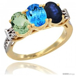 10K Yellow Gold Natural Green Amethyst, Swiss Blue Topaz & Blue Sapphire Ring 3-Stone Oval 7x5 mm Diamond Accent