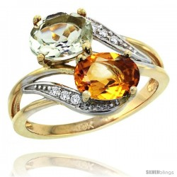14k Gold ( 8x6 mm ) Double Stone Engagement Green Amethyst & Citrine Ring w/ 0.07 Carat Brilliant Cut Diamonds & 2.34 Carats