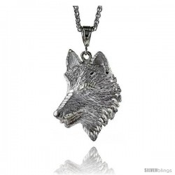 "Sterling Silver Wolf Pendant, 2 1/2"" (63 mm) tall"