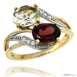 14k Gold ( 8x6 mm ) Double Stone Engagement Green Amethyst & Garnet Ring w/ 0.07 Carat Brilliant Cut Diamonds & 2.34 Carats