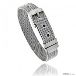 Stainless Steel Belt Buckle Mesh Bracelet, 1/2 in wide, Adjustable 6 in - 7.5 in
