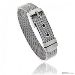 Stainless Steel Belt Buckle Mesh Bracelet, 1/2 in wide, Adjustable 6 in - 7.5 in