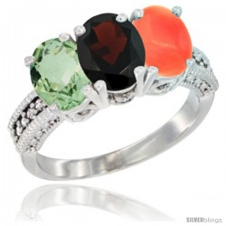 14K White Gold Natural Green Amethyst, Garnet & Coral Ring 3-Stone 7x5 mm Oval Diamond Accent