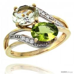 14k Gold ( 8x6 mm ) Double Stone Engagement Green Amethyst & Peridot Ring w/ 0.07 Carat Brilliant Cut Diamonds & 2.34 Carats