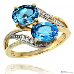14k Gold ( 8x6 mm ) Double Stone Engagement Swiss Blue Topaz Ring w/ 0.07 Carat Brilliant Cut Diamonds & 2.34 Carats Oval Cut