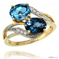 14k Gold ( 8x6 mm ) Double Stone Engagement Swiss & London Blue Topaz Ring w/ 0.07 Carat Brilliant Cut Diamonds & 2.34 Carats
