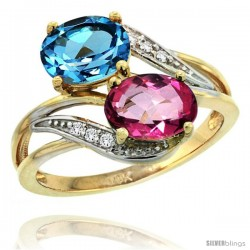 14k Gold ( 8x6 mm ) Double Stone Engagement Swiss Blue & Pink Topaz Ring w/ 0.07 Carat Brilliant Cut Diamonds & 2.34 Carats