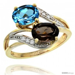 14k Gold ( 8x6 mm ) Double Stone Engagement Swiss Blue & Smoky Topaz Ring w/ 0.07 Carat Brilliant Cut Diamonds & 2.34 Carats