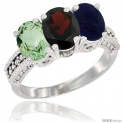 14K White Gold Natural Green Amethyst, Garnet & Lapis Ring 3-Stone 7x5 mm Oval Diamond Accent