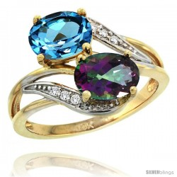 14k Gold ( 8x6 mm ) Double Stone Engagement Swiss Blue & Mystic Topaz Ring w/ 0.07 Carat Brilliant Cut Diamonds & 2.34 Carats