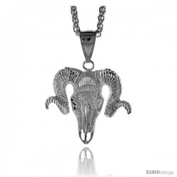 "Sterling Silver Ram's Head Pendant, 1 3/8"" (35 mm) tall"