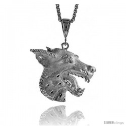 "Sterling Silver Wolf Pendant, 2 1/8"" (54 mm) tall"