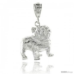 "Sterling Silver Small Bulldog Pendant, 1 3/16"" (30 mm) tall"