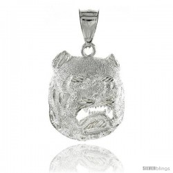 "Sterling Silver Bulldog Pendant, 1 1/8"" (29 mm) tall"