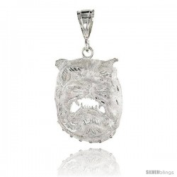 "Sterling Silver Bulldog Pendant, 2 1/8"" (52 mm) tall"