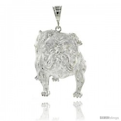"Sterling Silver Bulldog Pendant, 2 3/16"" (56 mm) tall"