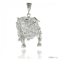 "Sterling Silver Bulldog Pendant, 2 15/16"" (75 mm) tall -Style Pq590"