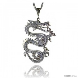 "Sterling Silver Dragon Pendant, 2 1/4"" (57 mm) tall"
