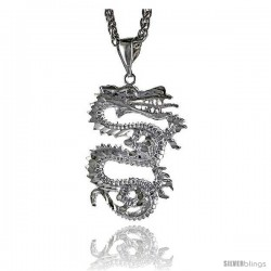 """Sterling Silver Small Dragon Pendant, 1 1/8"""" (29 mm) tall"""
