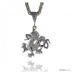 "Sterling Silver Small Dragon Pendant, 1"" (25 mm) tall"